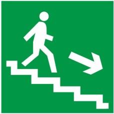 Знак Е13 - Направление к эвакуационному выходу по лестнице вниз направо
