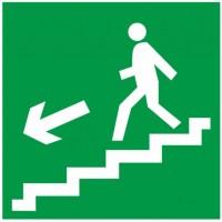 Знак Е14 - Направление к эвакуационному выходу по лестнице вниз налево